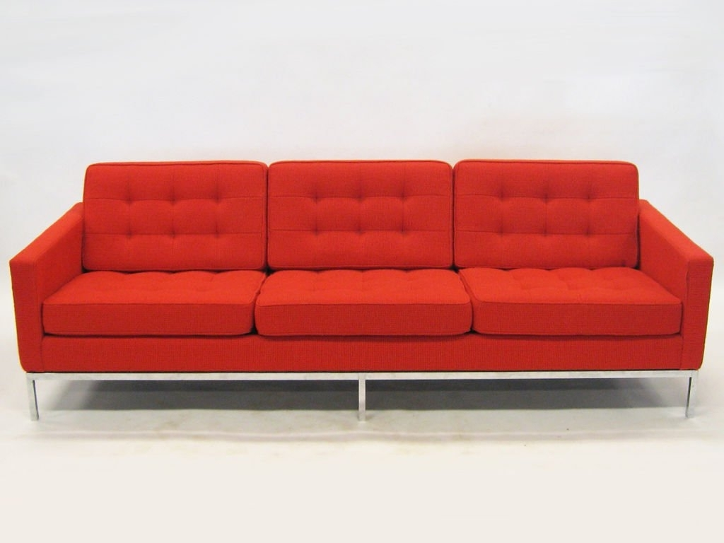 Early Florence Knoll 3 Seat Sofa In Red Cato Fabric At 1Stdibs Within Best And Newest Florence Knoll 3 Seater Sofas (Gallery 17 of 20)