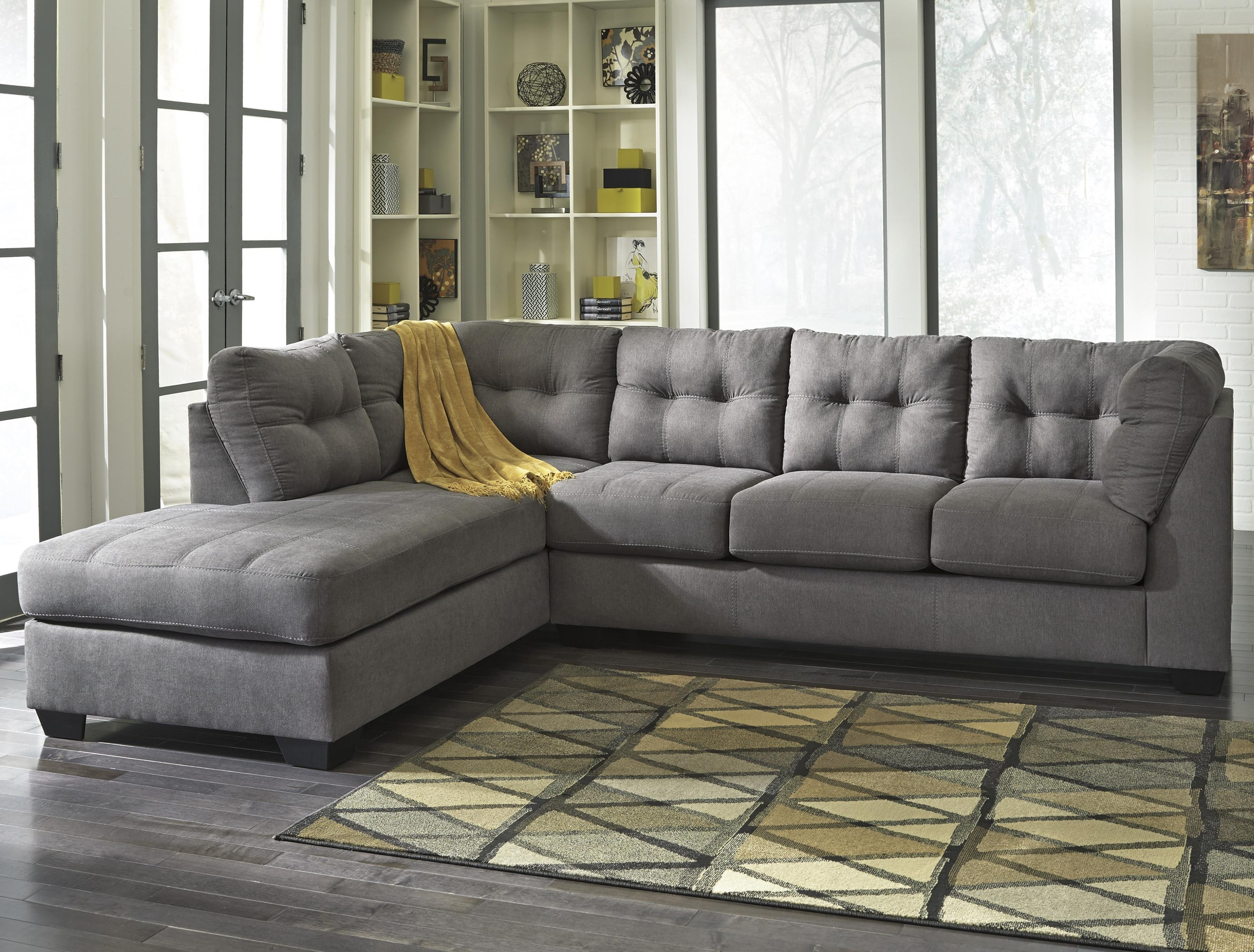 East Bay Sectional Sofas Pertaining To Favorite Benchcraft Maier – Charcoal 2 Piece Sectional With Right Chaise (Gallery 6 of 20)