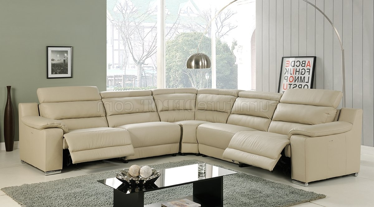 Elda Reclining Sectional Sofa In Beige Leatherat Home Usa Within 2018 Leather Recliner Sectional Sofas (View 4 of 20)