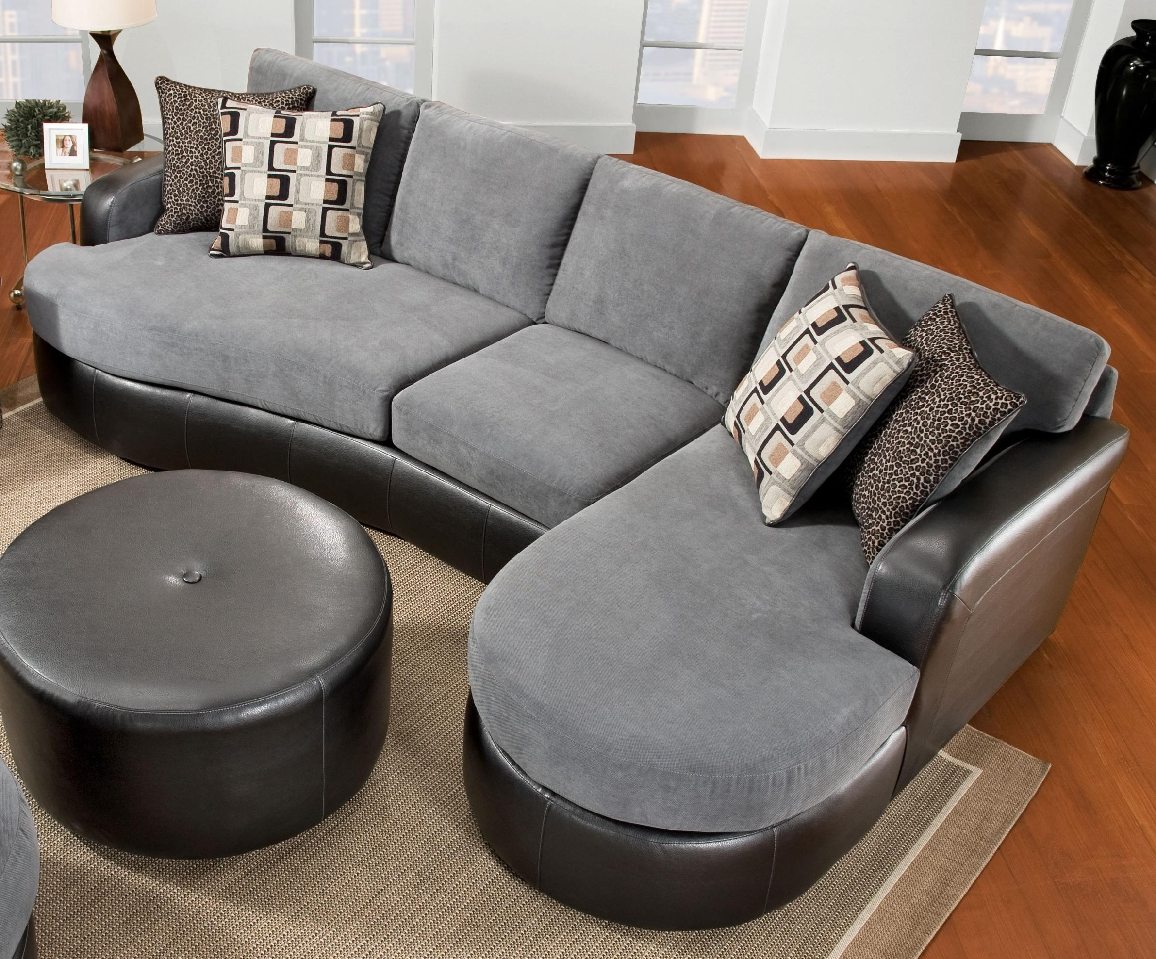 Elegant Chic Gray Velvet And Black Leather Sectional Sofa With F With Fashionable Sofas With Chaise And Ottoman (View 15 of 20)