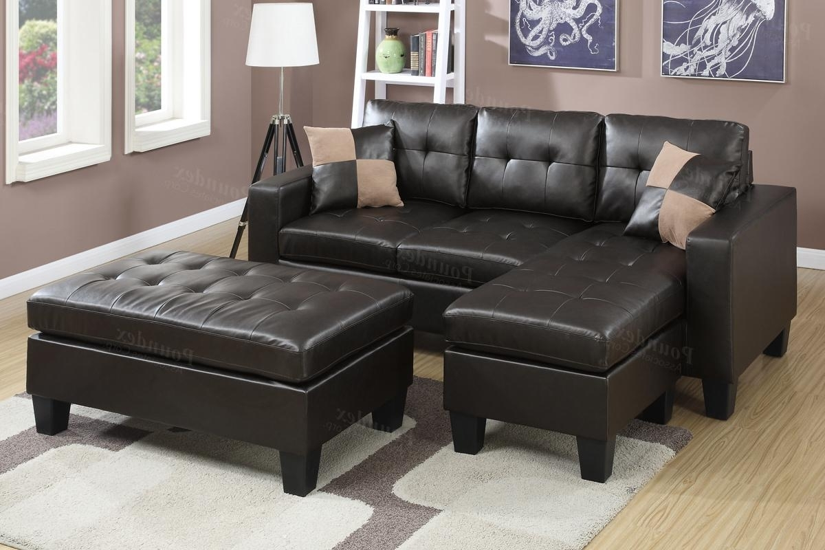 Elegant Faux Leather Sectional Sofa Throughout Brown And Ottoman In Best And Newest Sofas With Chaise And Ottoman (View 19 of 20)