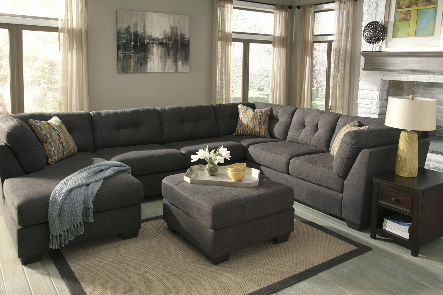 Elk Grove Ca Sectional Sofas With Well Known Delta City Steel 3 Piece Sectional Sofa With Right Arm Facing (View 7 of 20)