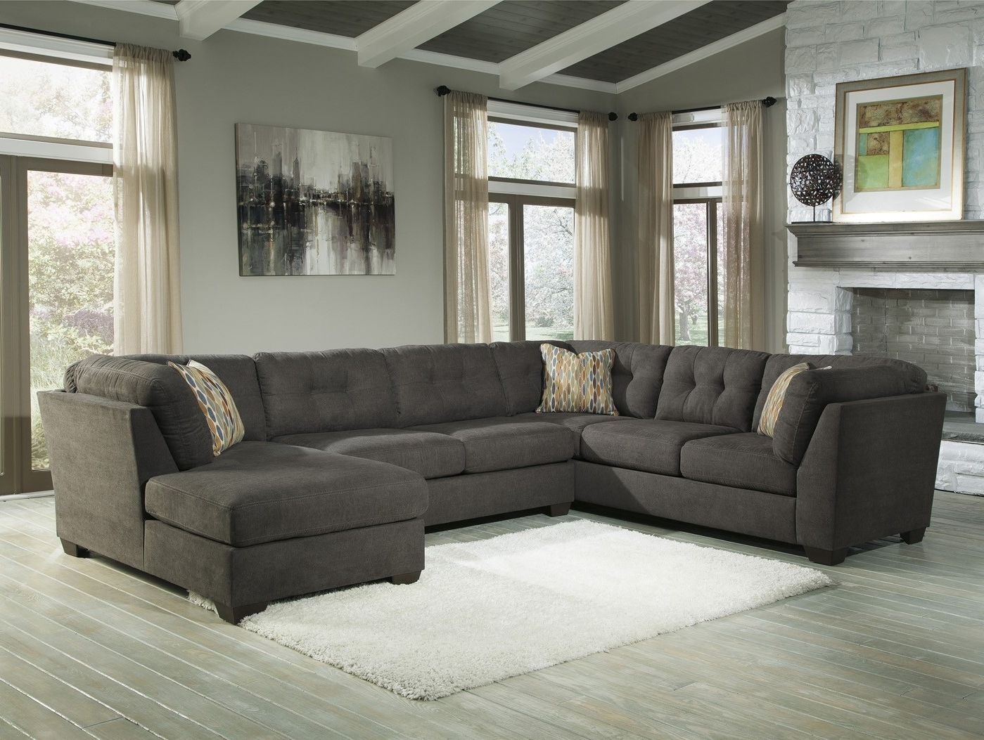 Elk Grove Ca Sectional Sofas Within Best And Newest Delta City Steel 3 Piece Sectional Sofa With Right Arm Facing (Gallery 7 of 20)