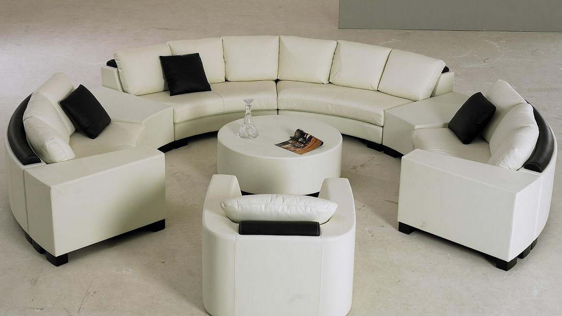 Engagng White Half Round Sofa With Black Pillows And Rond Table Within Well Known Round Sofas (View 11 of 20)