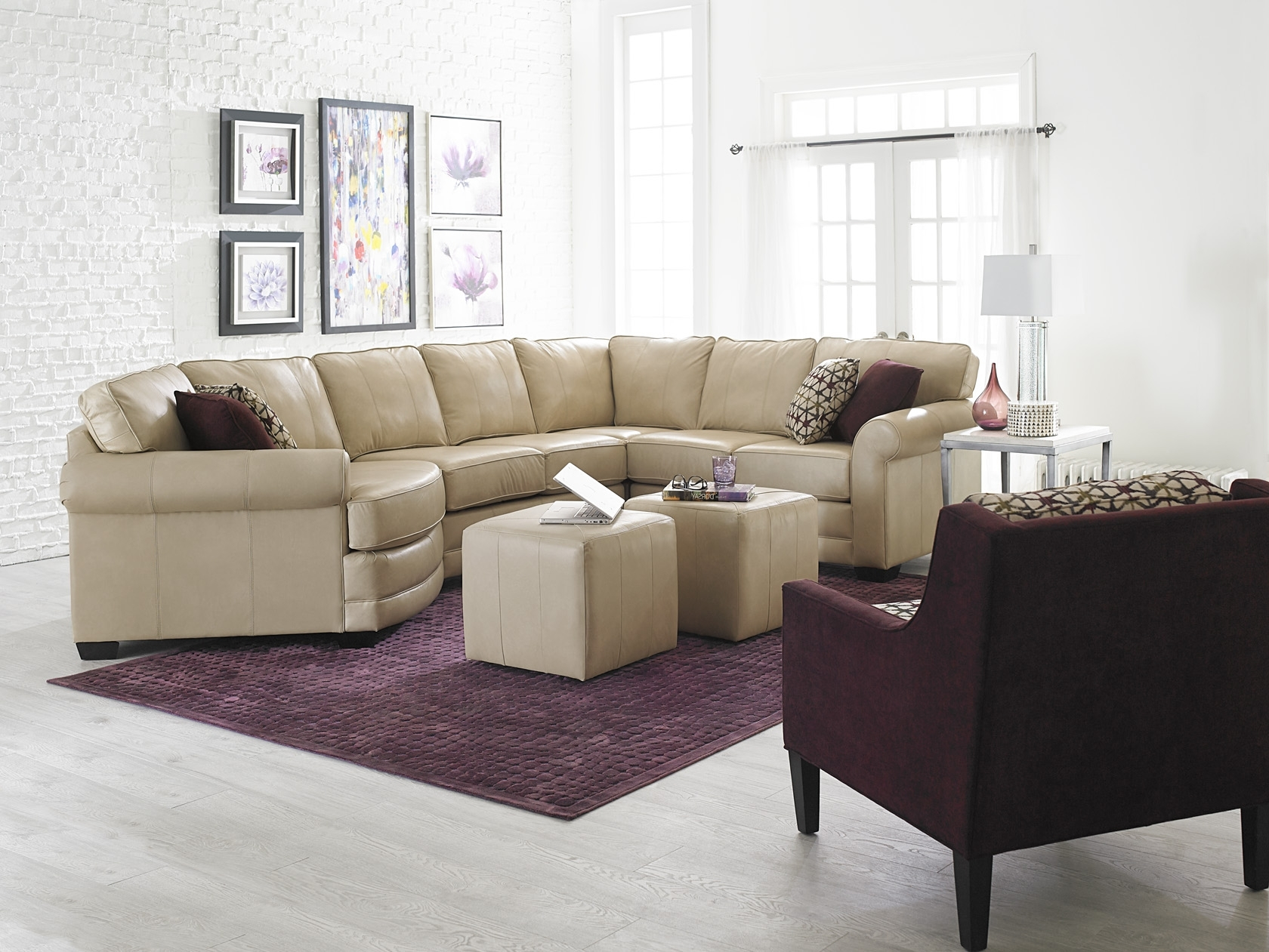 England Furniture Leather Sectional With Cuddler Seat (View 6 of 20)