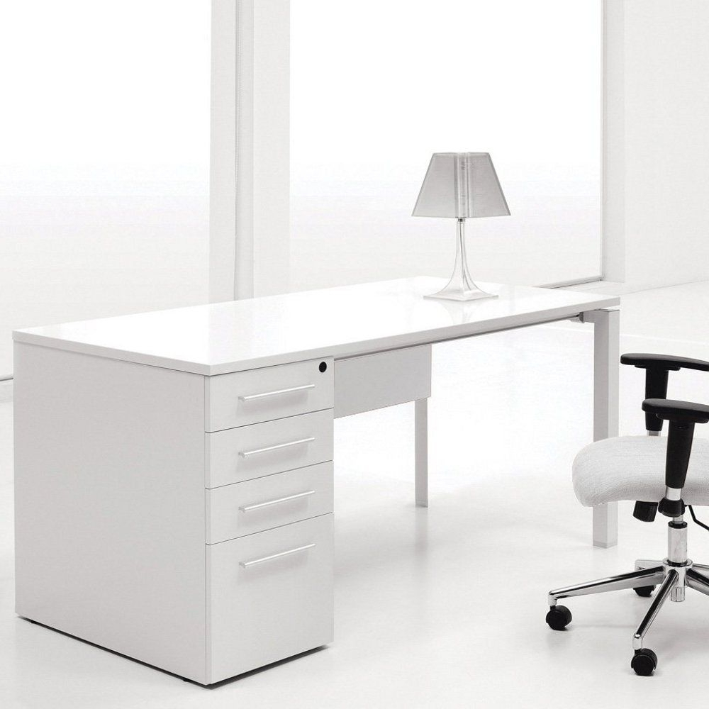 Ergo Office White Lacquer Computer Desk With Single Pedestal With Regard To 2018 White Computer Desks (View 3 of 20)