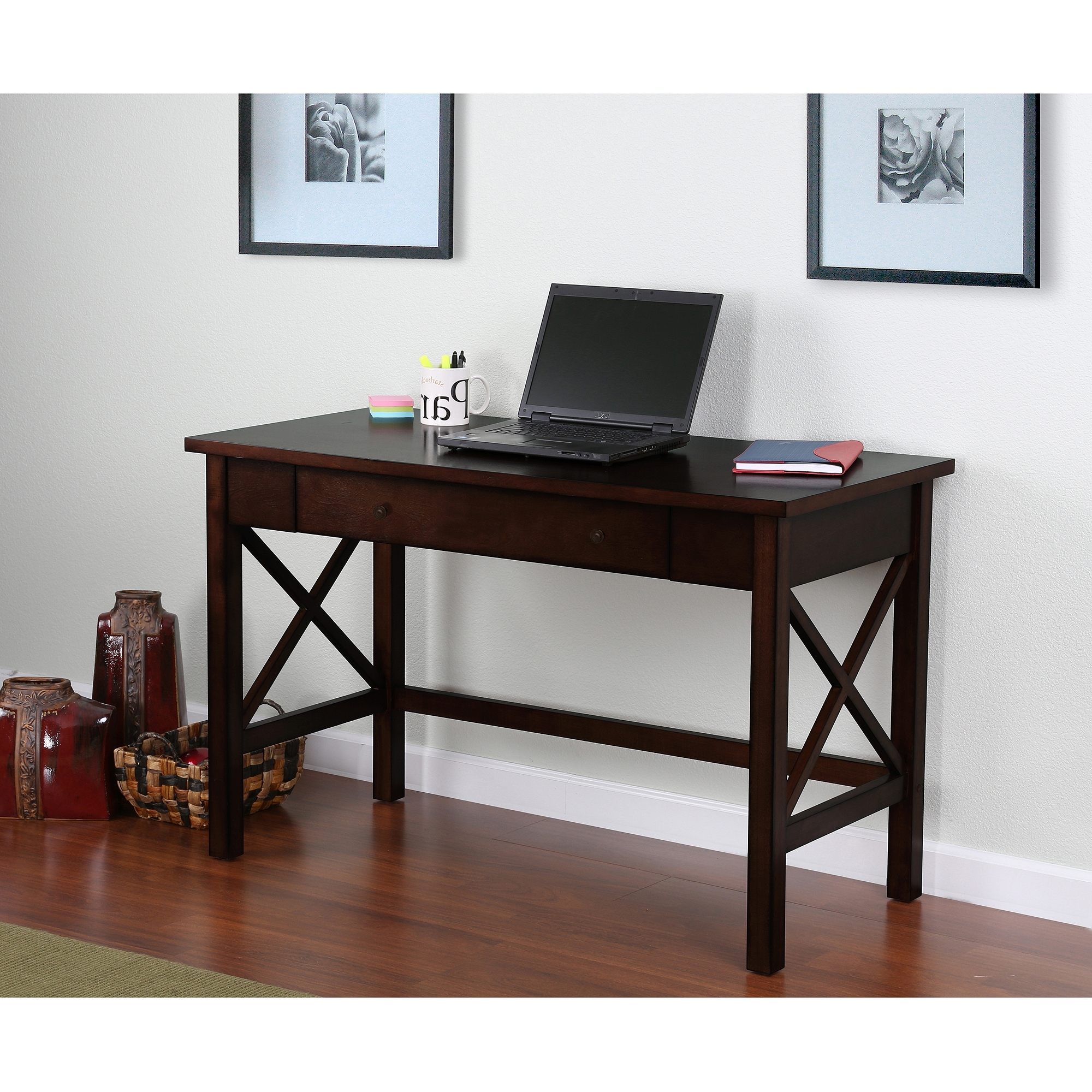Espresso Computer Desks With Popular Ashmore Desk – Walmart (View 7 of 20)