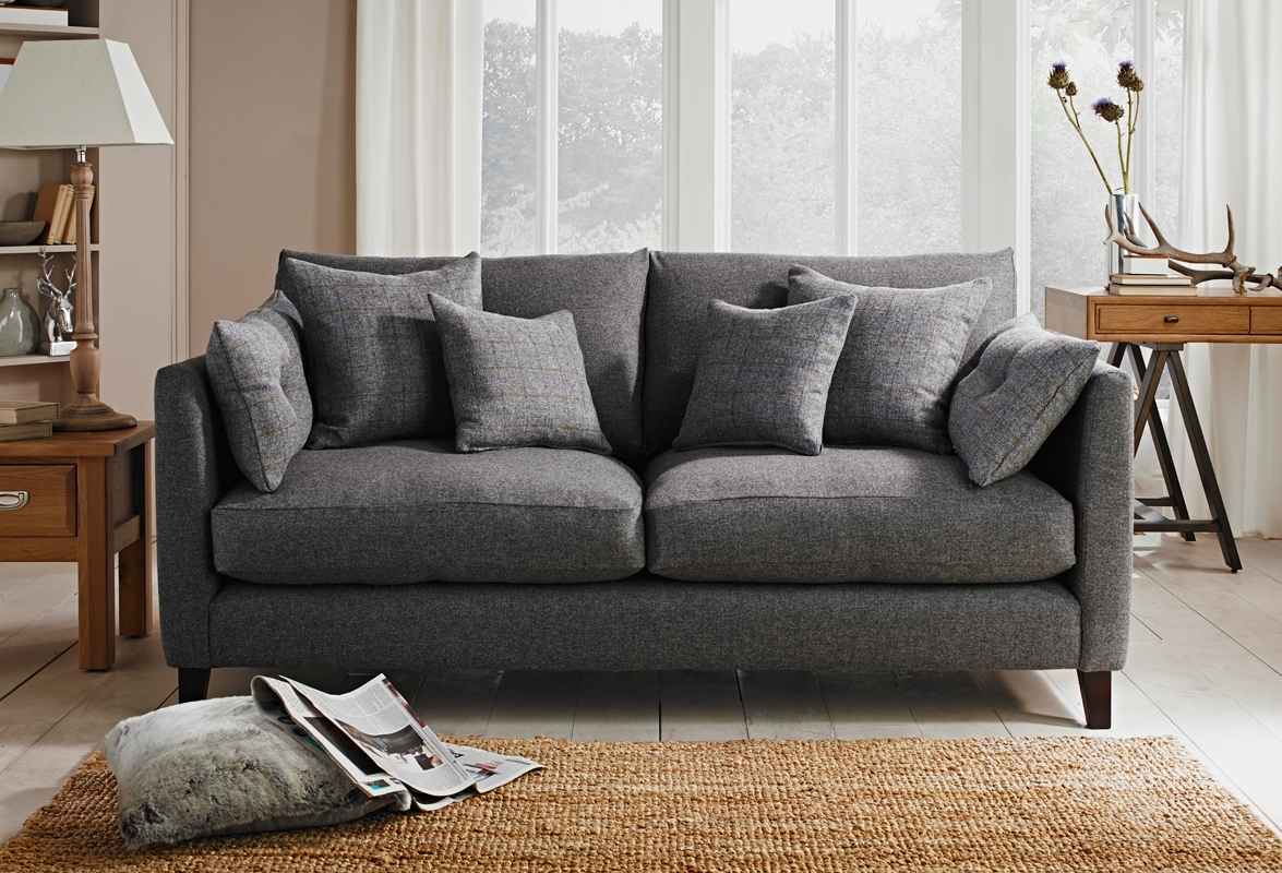 Evolution Sofa – Custom Co. In Scafell Storm Fabric. Scatter Pertaining To Newest Tweed Fabric Sofas (Gallery 3 of 20)