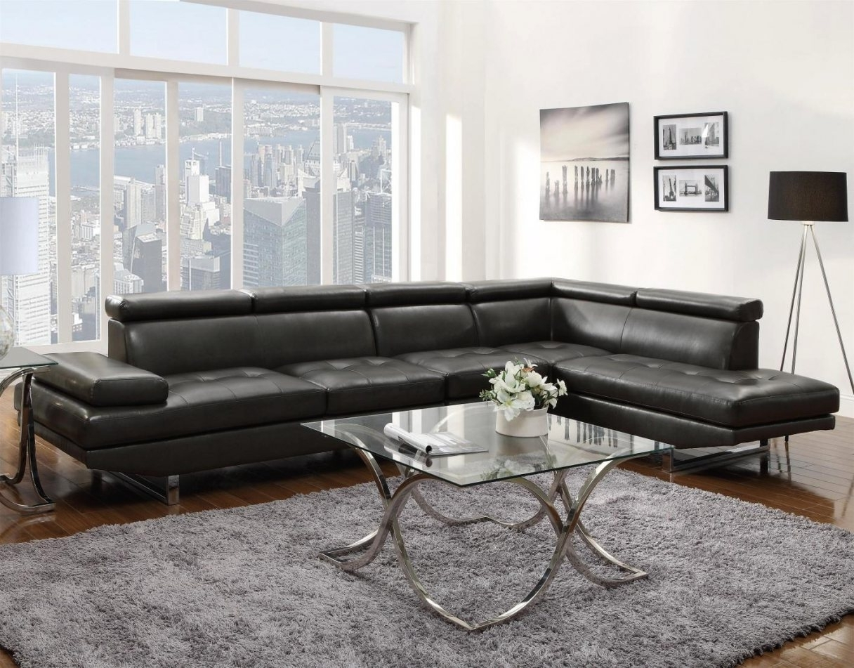 Exceptional Gray Leather Sectional Sofa #4 Grey Leather Sectional Pertaining To Trendy Sectional Sofas At Buffalo Ny (View 4 of 20)