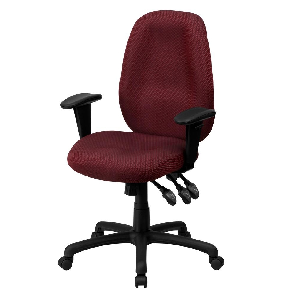 Executive Office Chairs With Adjustable Arms Pertaining To Most Recent Flash Furniture High Back Burgundy Fabric Multi Functional (View 8 of 20)