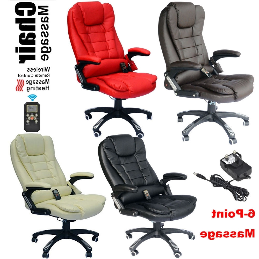 Executive Office Chairs With Massage/heat Within Widely Used 6 Point Heated Vibrating Massage Office Chair Wireless Reclining (View 14 of 20)