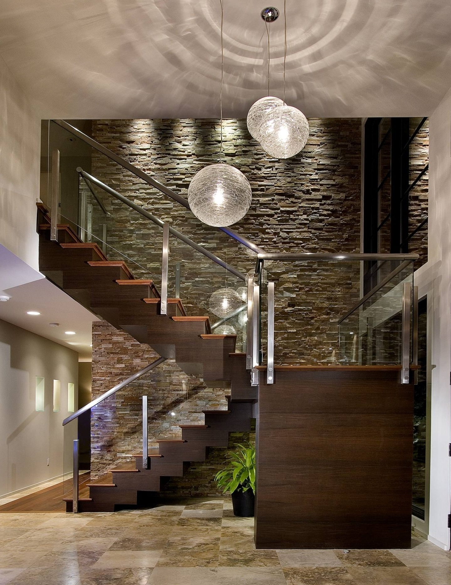 Extra High Ceilings, Glass Stairwell, Long Chandeliers, Enters Into With Regard To Popular Stairwell Chandeliers (View 4 of 20)