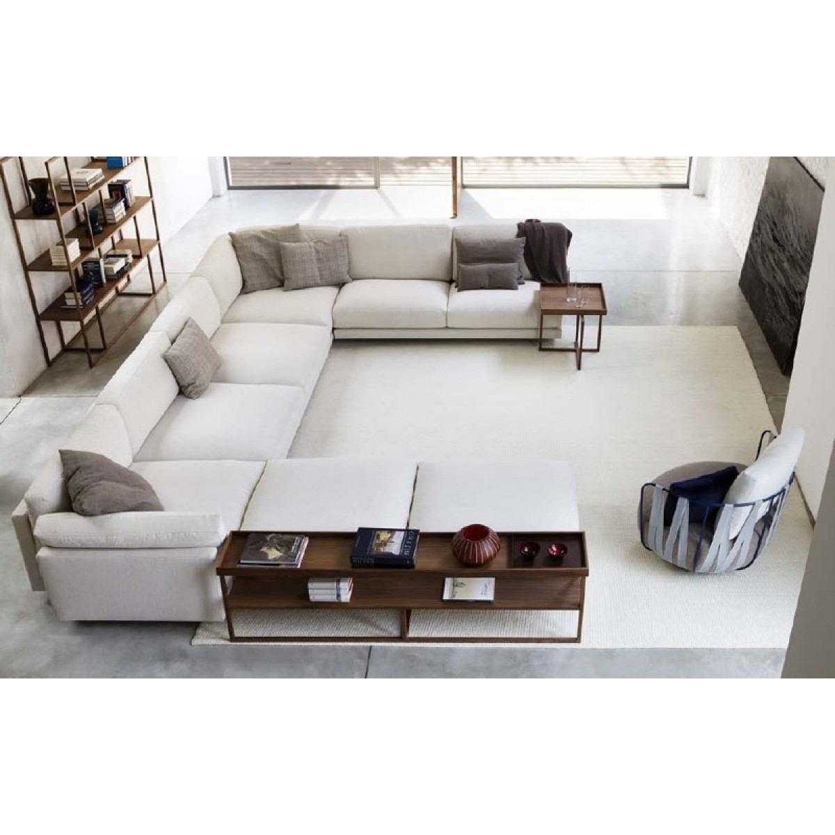 Extra Long Deep White U Shaped Sofa With Ottomans And Side Tables In Most Current Deep U Shaped Sectionals (View 5 of 20)