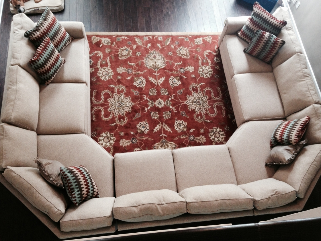 Extraordinary Beige Fabric U Shaped Sectional Sofa For Comfortable For Fashionable Media Room Sectional Sofas (View 18 of 20)