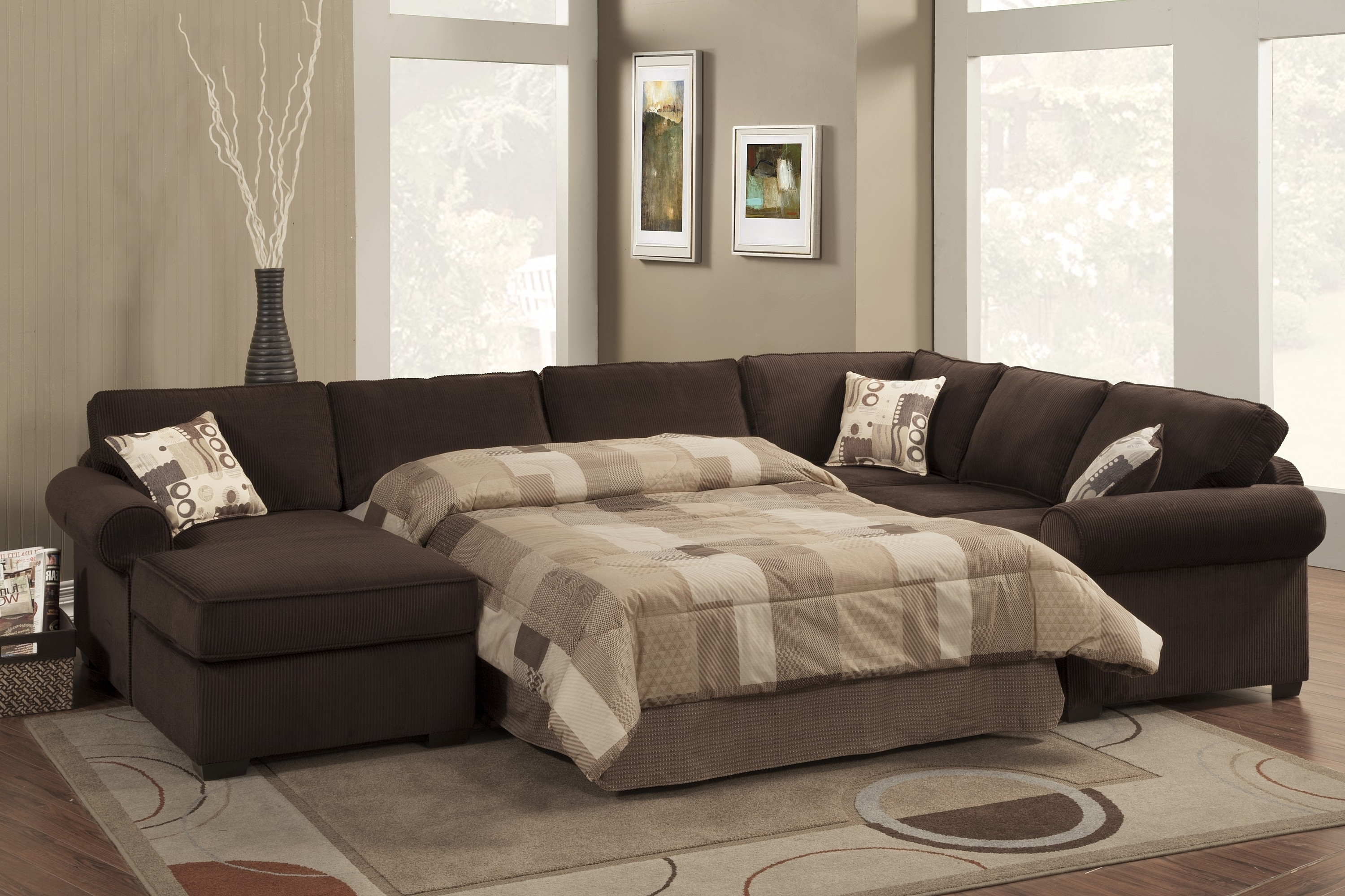 Extraordinary Sleeper Sofa Sectional Alluring Home Design Inside 2019 Sectional Sofas With Queen Size Sleeper (View 7 of 20)