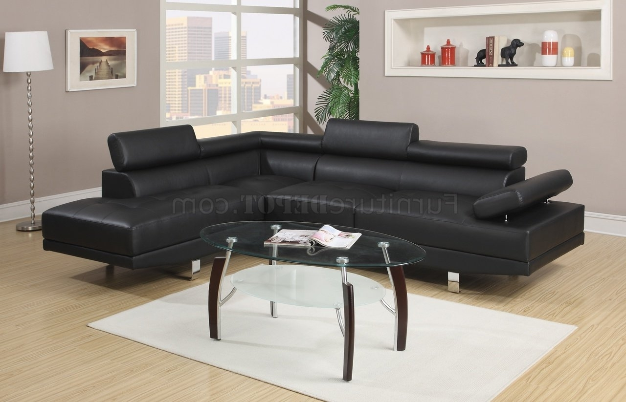 F7310 Sectional Sofaboss In Black Leatherette With Regard To Recent Black Sectional Sofas (Gallery 8 of 20)