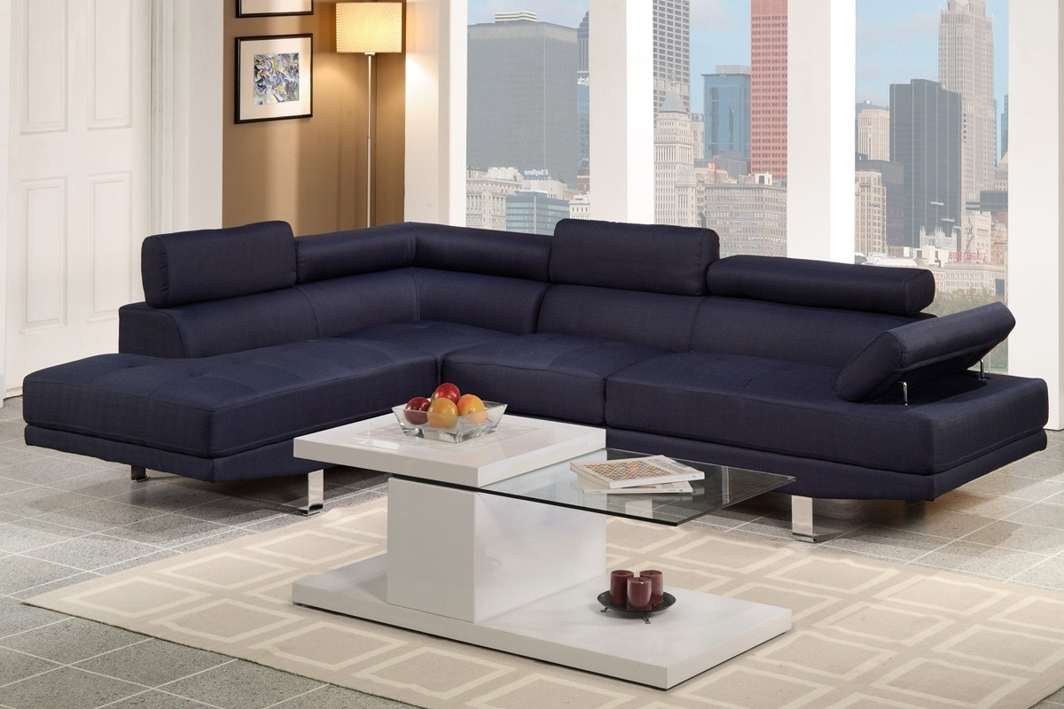 F7569 Sectional Sofa In Blue Linen Fabric Throughout Popular Fabric Sectional Sofas (View 6 of 20)