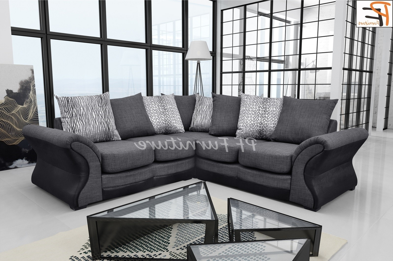 Fabric Corner Sofas Throughout Latest New Candem Fabric Corner Sofa Black/grey – Corner Sofas (View 8 of 20)