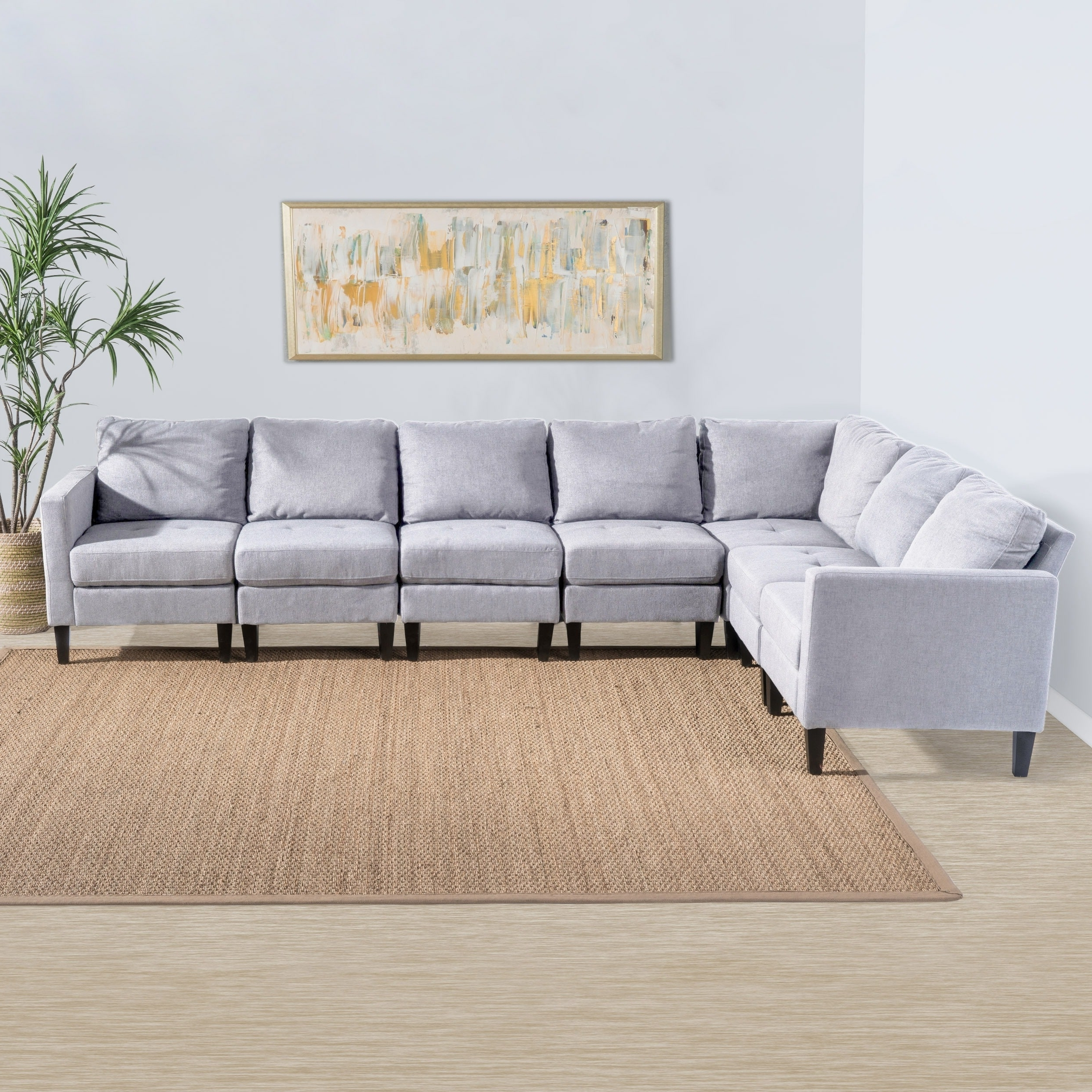 Fabric Sectional Sofas Throughout Famous Zahra 7 Piece Fabric Sectional Sofa Setchristopher Knight Home (View 10 of 20)