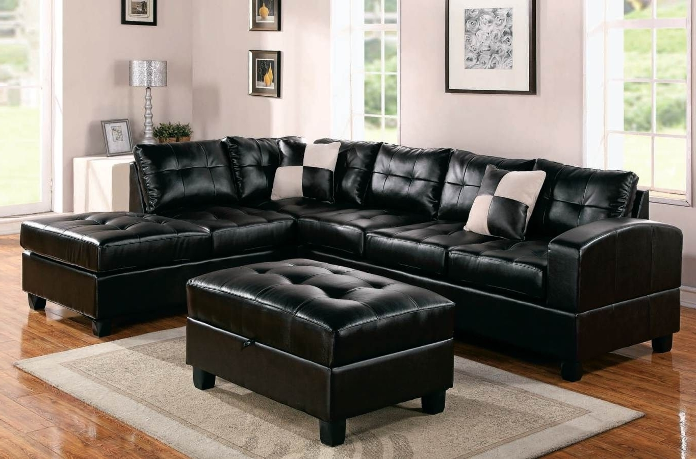 Family Room With Black Leather Sectionals With Ottoman (View 9 of 20)
