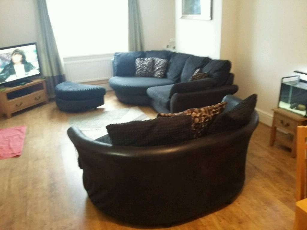 Famous 3 Seater Sofas And Cuddle Chairs For Large 3 Seater Curved Sofa And Cuddle Chair And Pouffe (View 7 of 20)