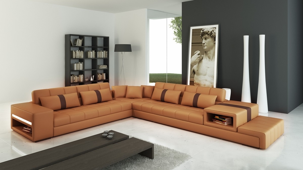 Famous Camel Colored Sectional Sofas For Casa 6141 Modern Camel And Brown Leather Sectional Sofa (View 2 of 20)