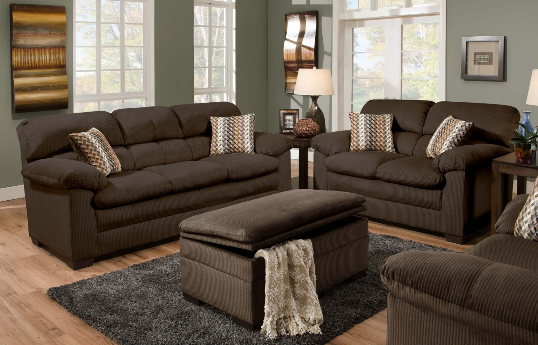 Famous Cappuccino Sectional Sofa Set Having Pillow Arms Details Also For Sofas With Ottoman (View 4 of 20)