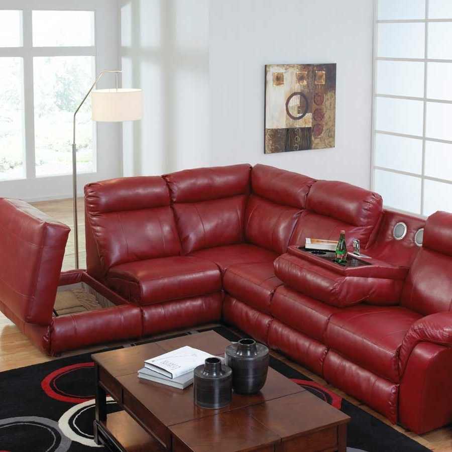 Famous Catnapper Chastain Bonded Leather Sectional With Storage Chaise In Red Leather Sectional Couches (View 4 of 20)