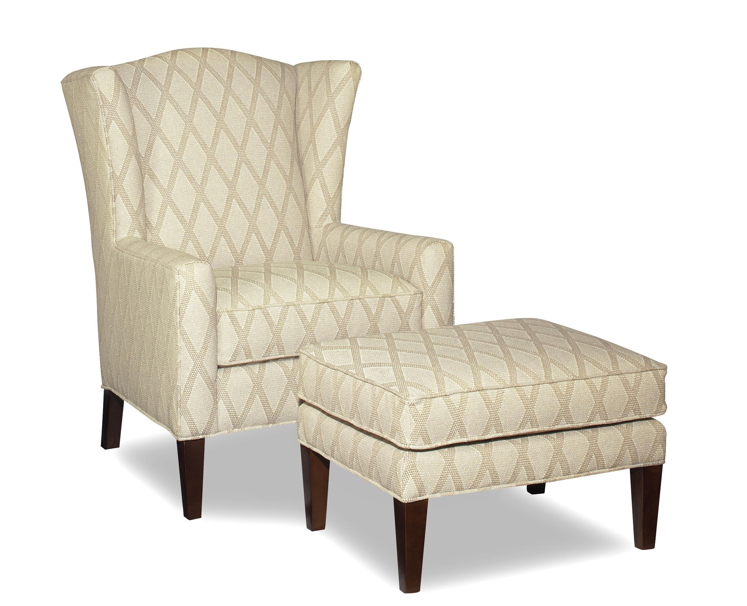 Famous Chairs With Ottoman Throughout Wing Chair And Ottoman With Wide Flared Wingscraftmaster (View 5 of 20)