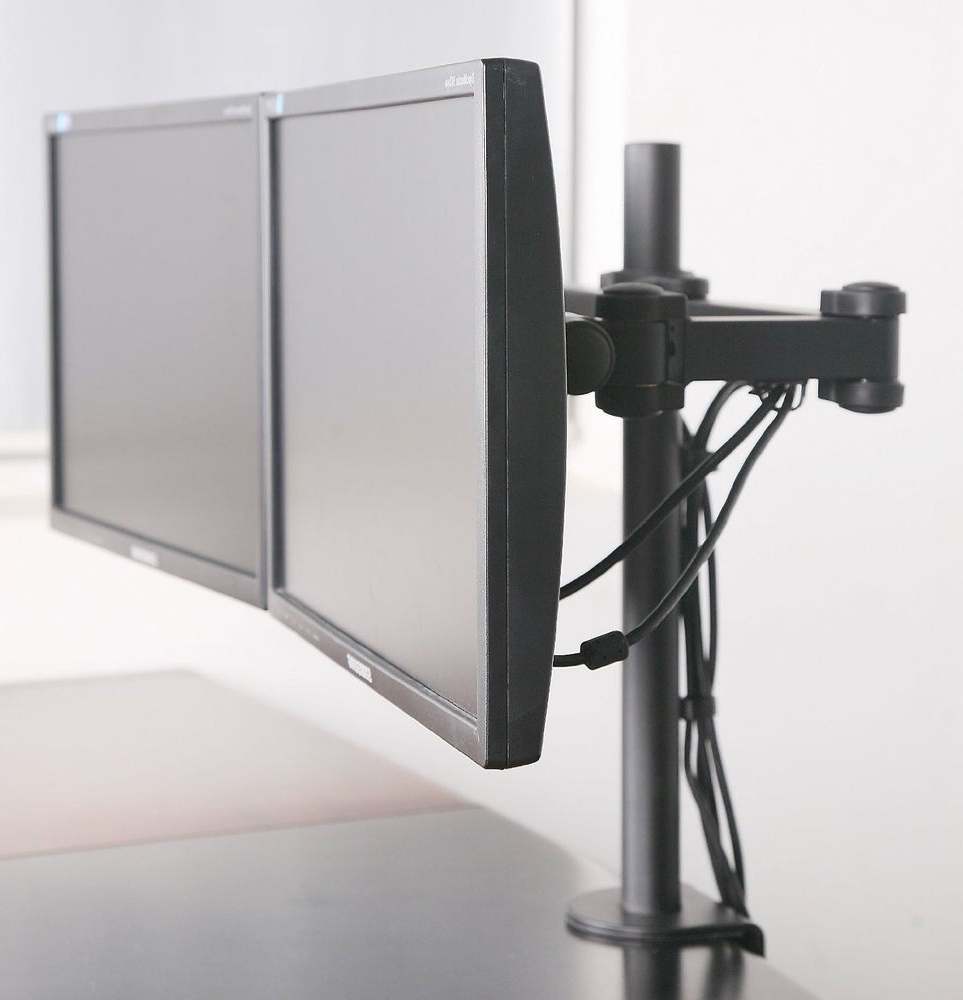 Famous Computer Desks With Monitor Mount Intended For Dual Monitor Desk Mount Computer Flat Screen Two Lcd Stand Arms (View 13 of 20)