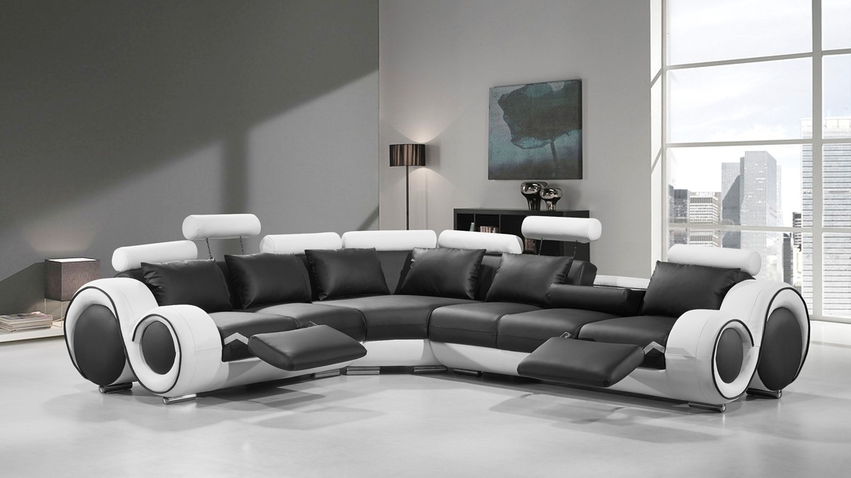 Famous Divani Casa 4087 Modern Black And White Bonded Leather Sectional Regarding White Sectional Sofas (View 14 of 20)