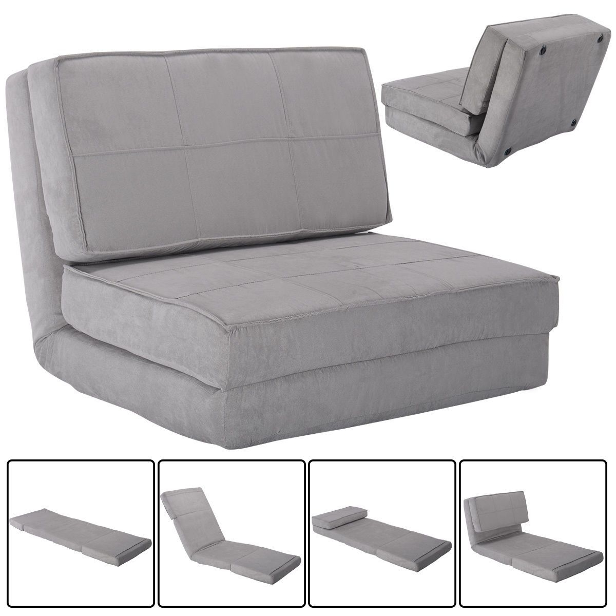 Famous Folding Sofa Chairs Intended For Convertible Lounger Folding Sofa Sleeper Bed (View 8 of 20)