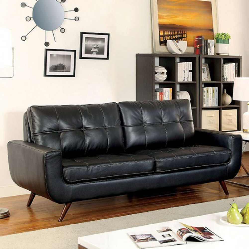 Famous Furniture : Coaster Full Size Sofa Sleeper In Black Leather For Farmers Furniture Sectional Sofas (View 3 of 20)