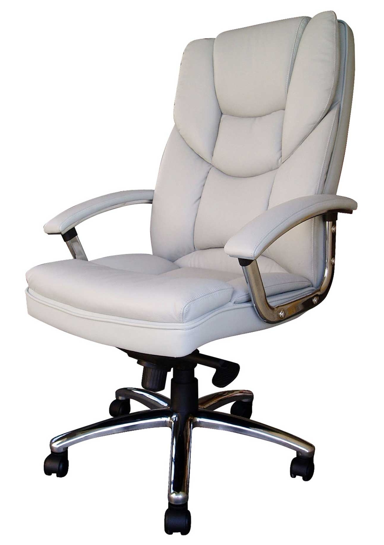 Famous High End Executive Office Chairs With Funiture: White Office Furniture Ideas Using White Leather Swivel (View 6 of 20)