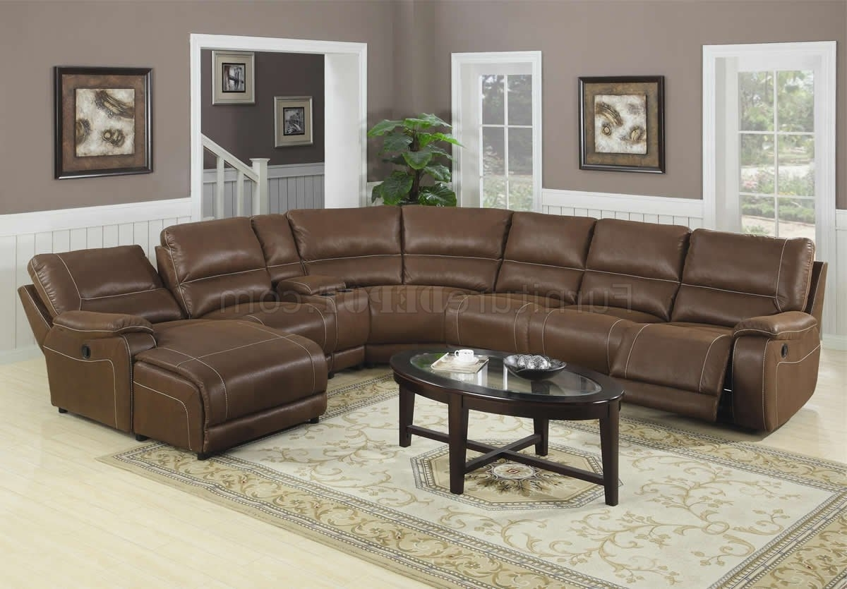 Famous Leather And Suede Sectional Sofas Regarding Brown Suede Like Padded Microfiber Reclining Sectional Sofa (View 5 of 20)