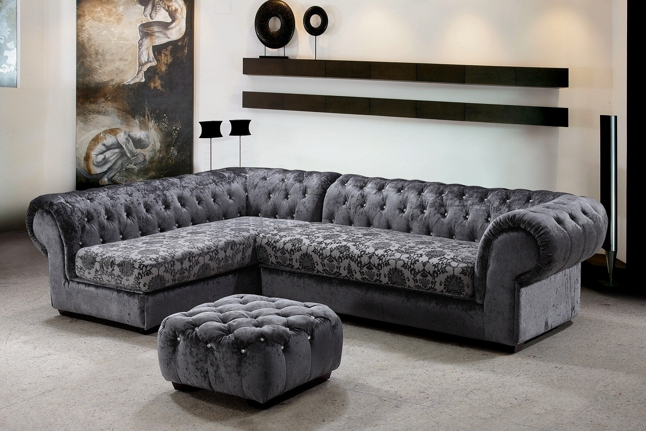 Famous Metropolitan 3 Piece Fabric Sectional Sofa & Ottoman With Crystals In Elegant Sectional Sofas (View 11 of 20)