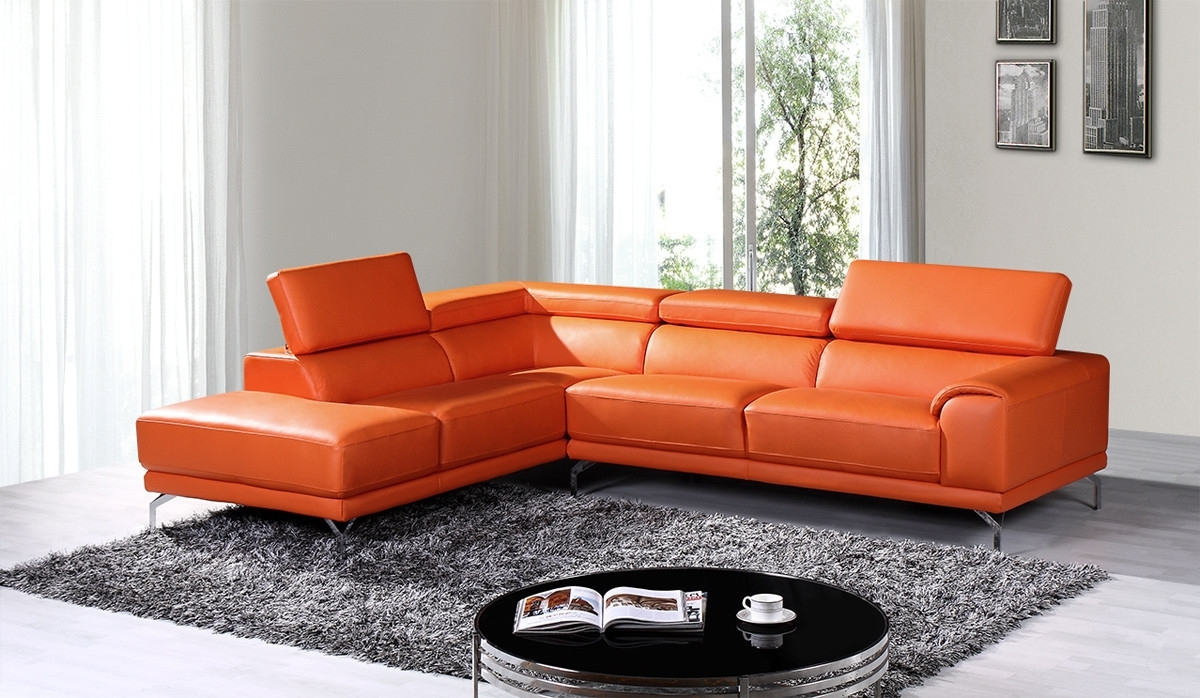 Famous Orange Sectional Sofas Regarding Casa Wisteria Modern Orange Leather Sectional Sofa Furniture And (View 3 of 20)