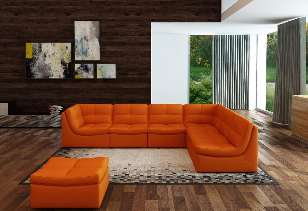Famous Orange Sectional Sofas Within Divani Casa 207 Modern Orange Bonded Leather Sectional Sofa (View 4 of 20)