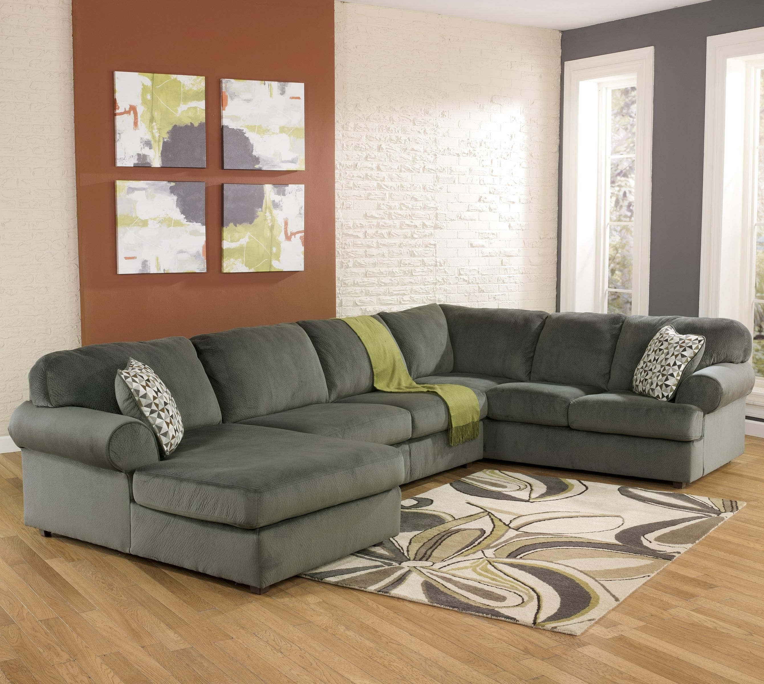 Famous Pensacola Fl Sectional Sofas In Jessa Place Pewter Casual Sofa With Right Chaise