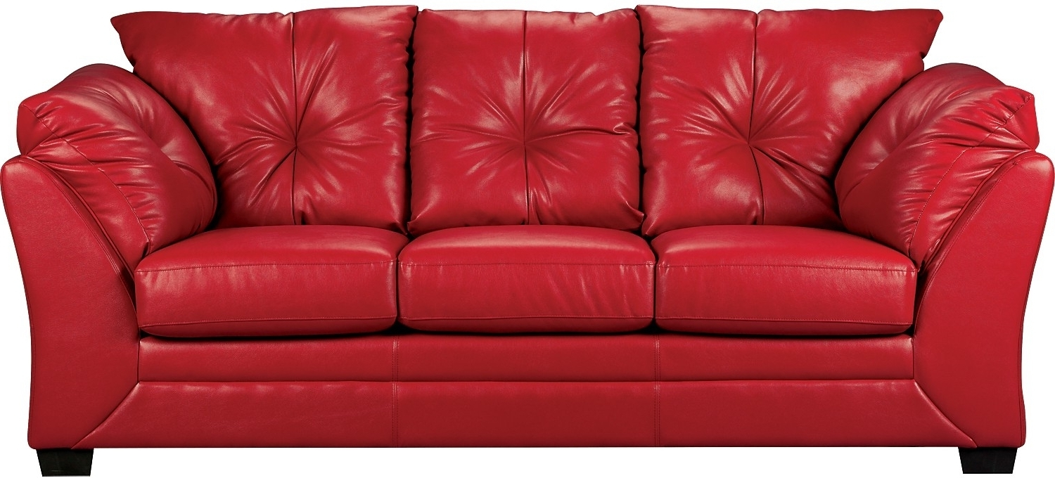Famous Red Faux Leather Sofa – Home And Textiles Throughout The Brick Leather Sofas (View 3 of 20)