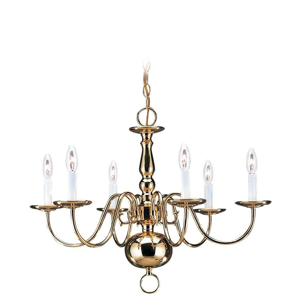 Famous Sea Gull Lighting Traditional 6 Light Polished Brass Colonial Style Throughout Traditional Brass Chandeliers (View 7 of 20)
