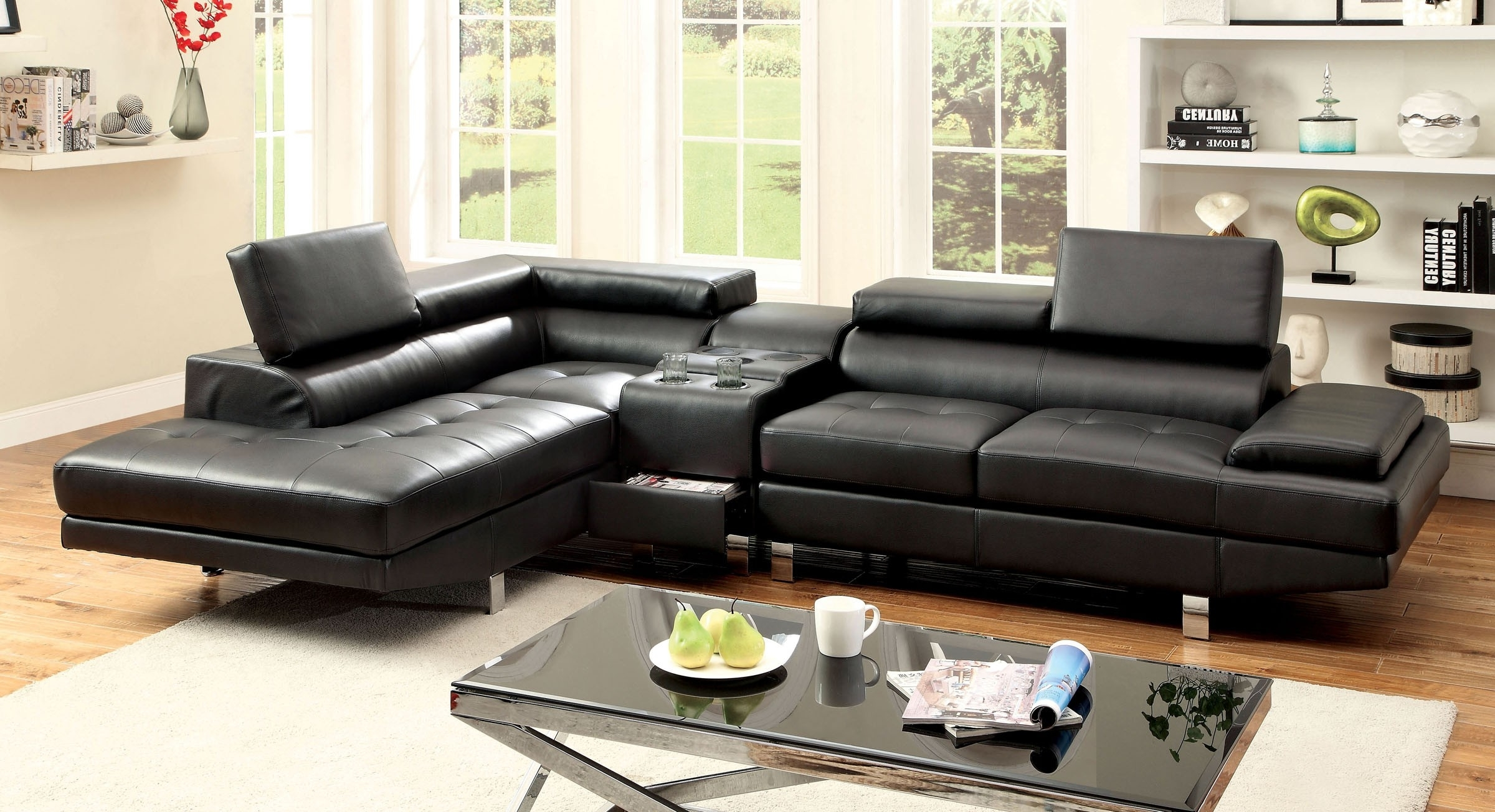 Famous Sectional Sofa W/ Speaker Console (cm6833bk ) (View 10 of 20)