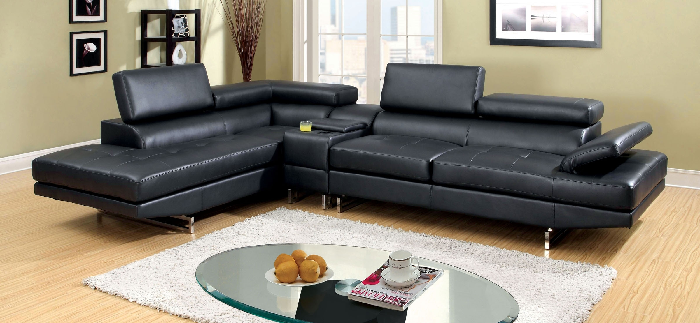 Famous Sectional Sofas With Consoles With Regard To Kemi Contemporary Black Bonded Leather Match Sectional Sofa Chaise (View 6 of 20)