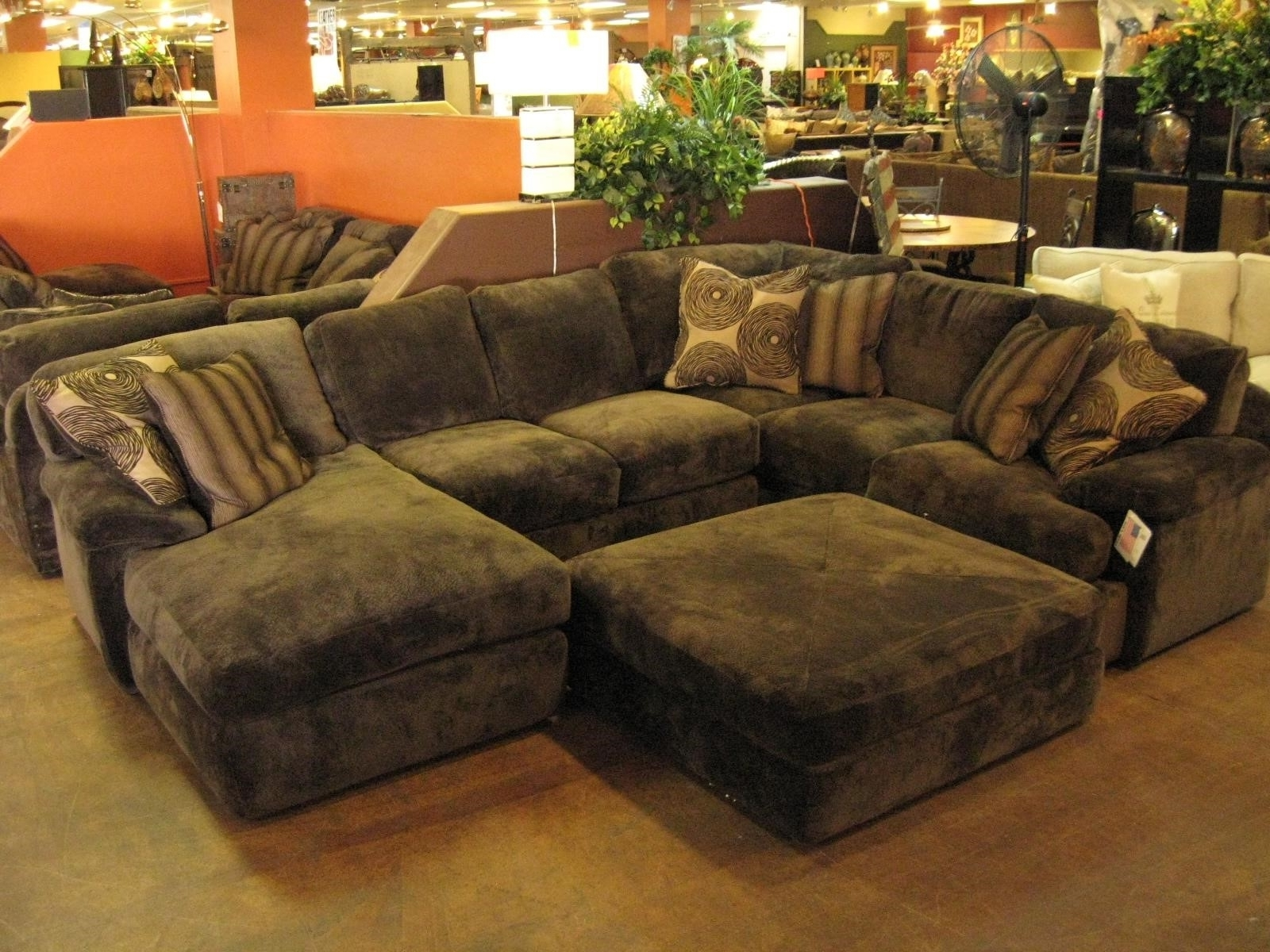 Famous Sectional Sofas With Oversized Ottoman Intended For Sofa Extra Large Sectional With Chaise And Ottoman U Shaped (View 3 of 20)