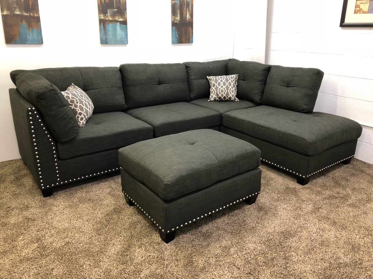 Famous Sectionals With Ottoman Regarding 1 In Stock)#n753R  $250 Down  Black Linen Studded Linen Sectional (View 4 of 20)