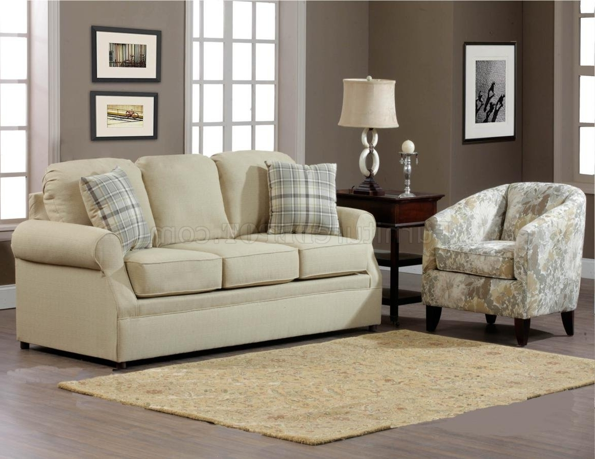 Famous Sofa And Accent Chair Sets With Regard To Cream Fabric Modern Sofa & Accent Chair Set W/options (View 4 of 20)