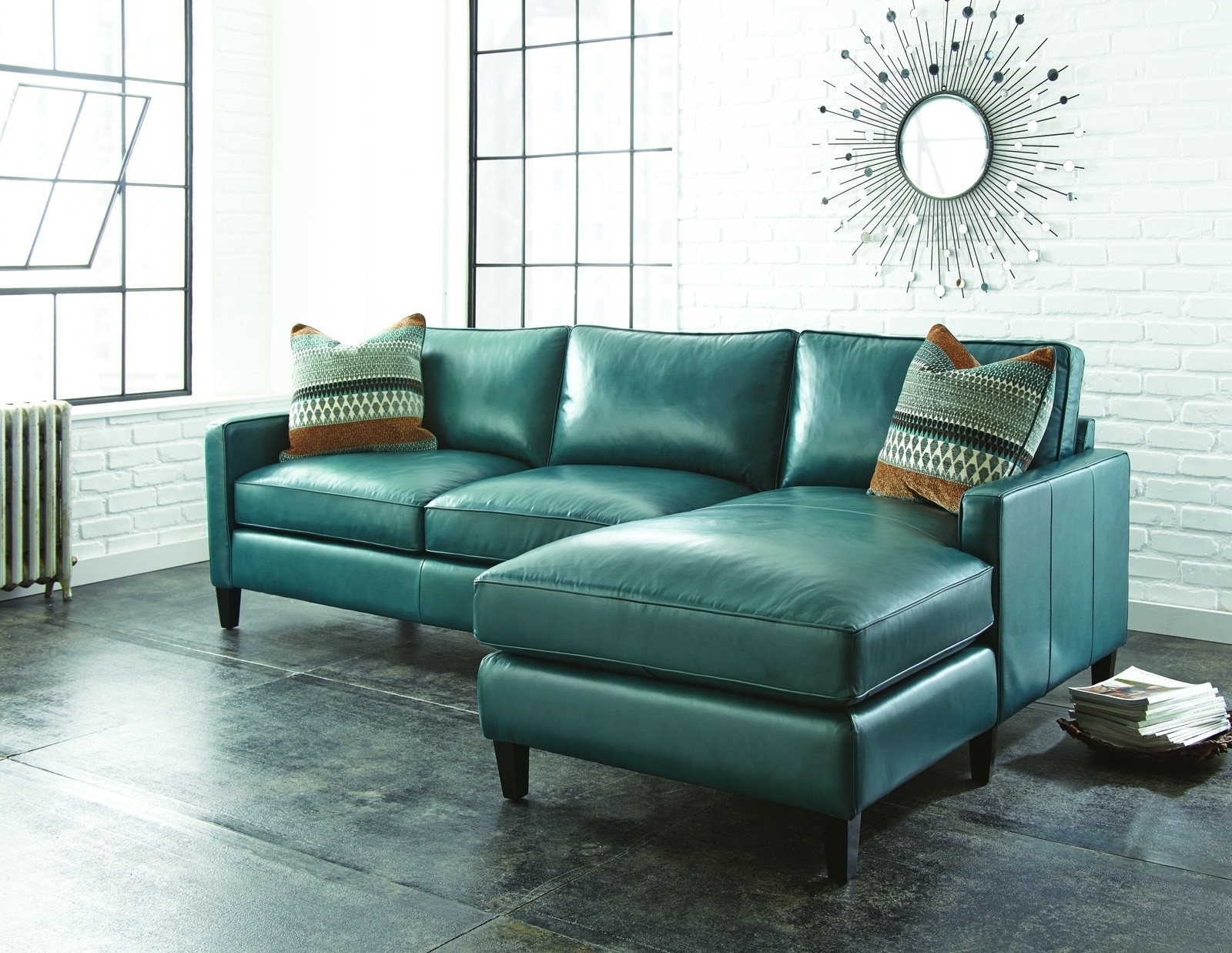 Famous Turquoise Sofas Pertaining To Turquoise Leather Sectional Sofa For Living Room With Sun Wall (View 3 of 20)