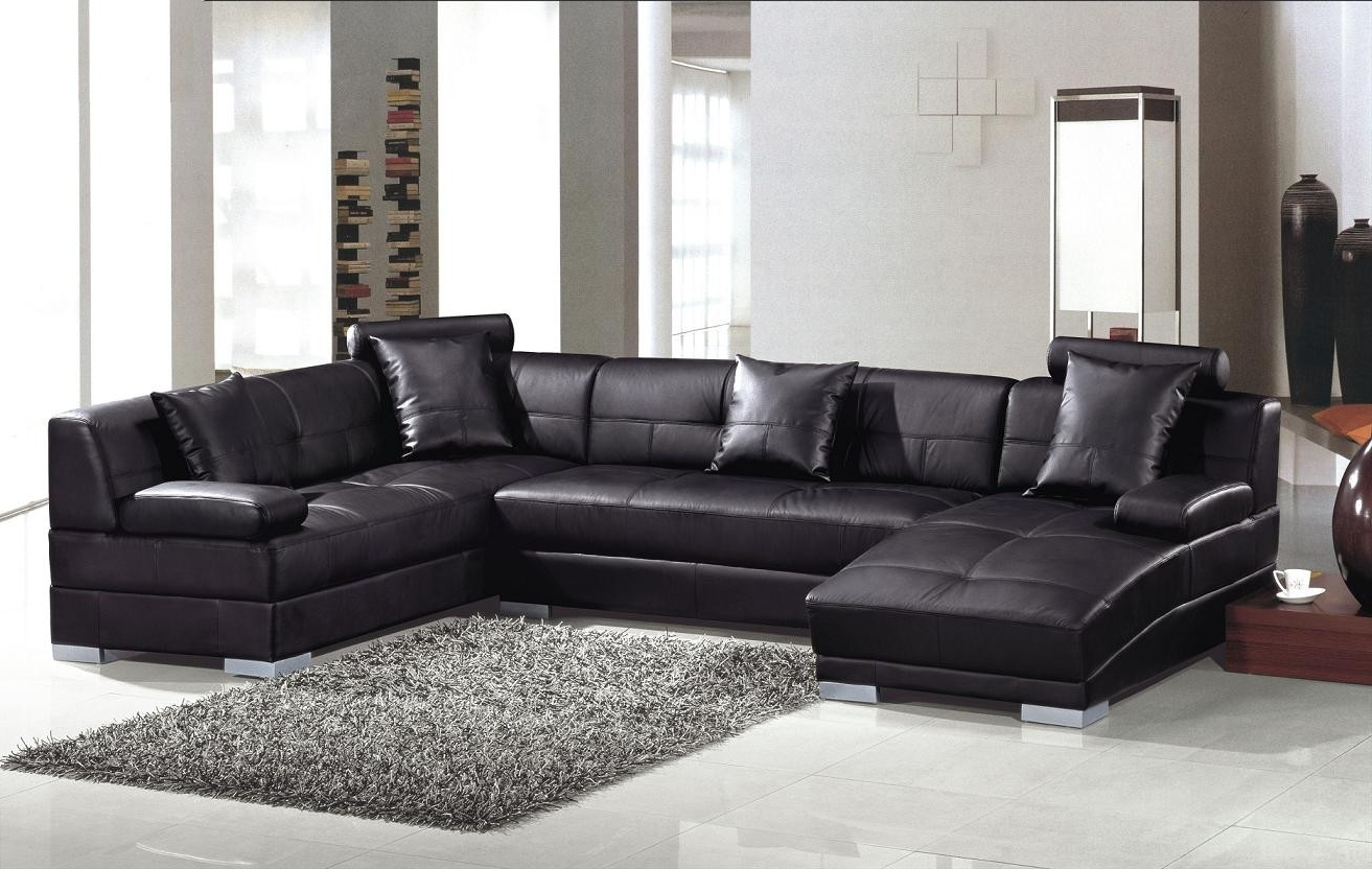 Famous Ultra Modern Black Leather Sectional Sofa For Leather Sectional Sofas (View 4 of 20)
