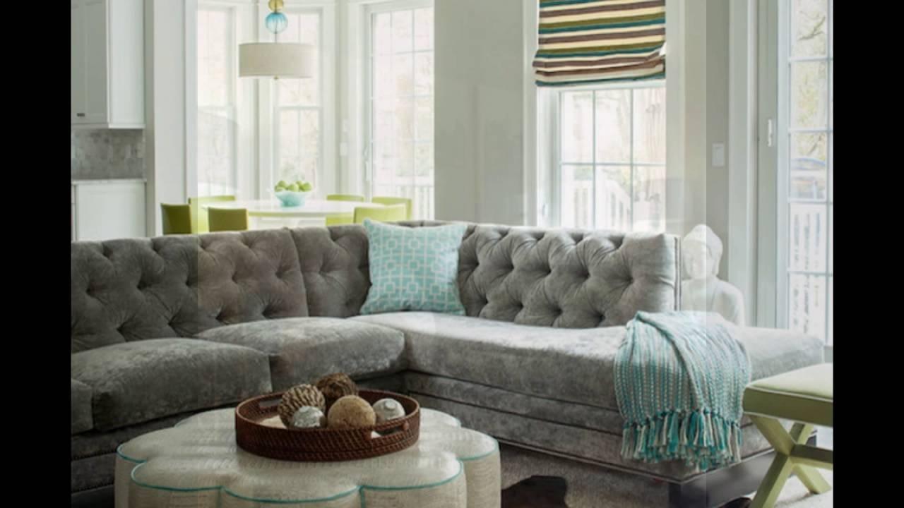 Famous Velvet Sectional Sofas Throughout Gray Velvet Sectional Sofa For Living Room – Youtube (View 5 of 20)