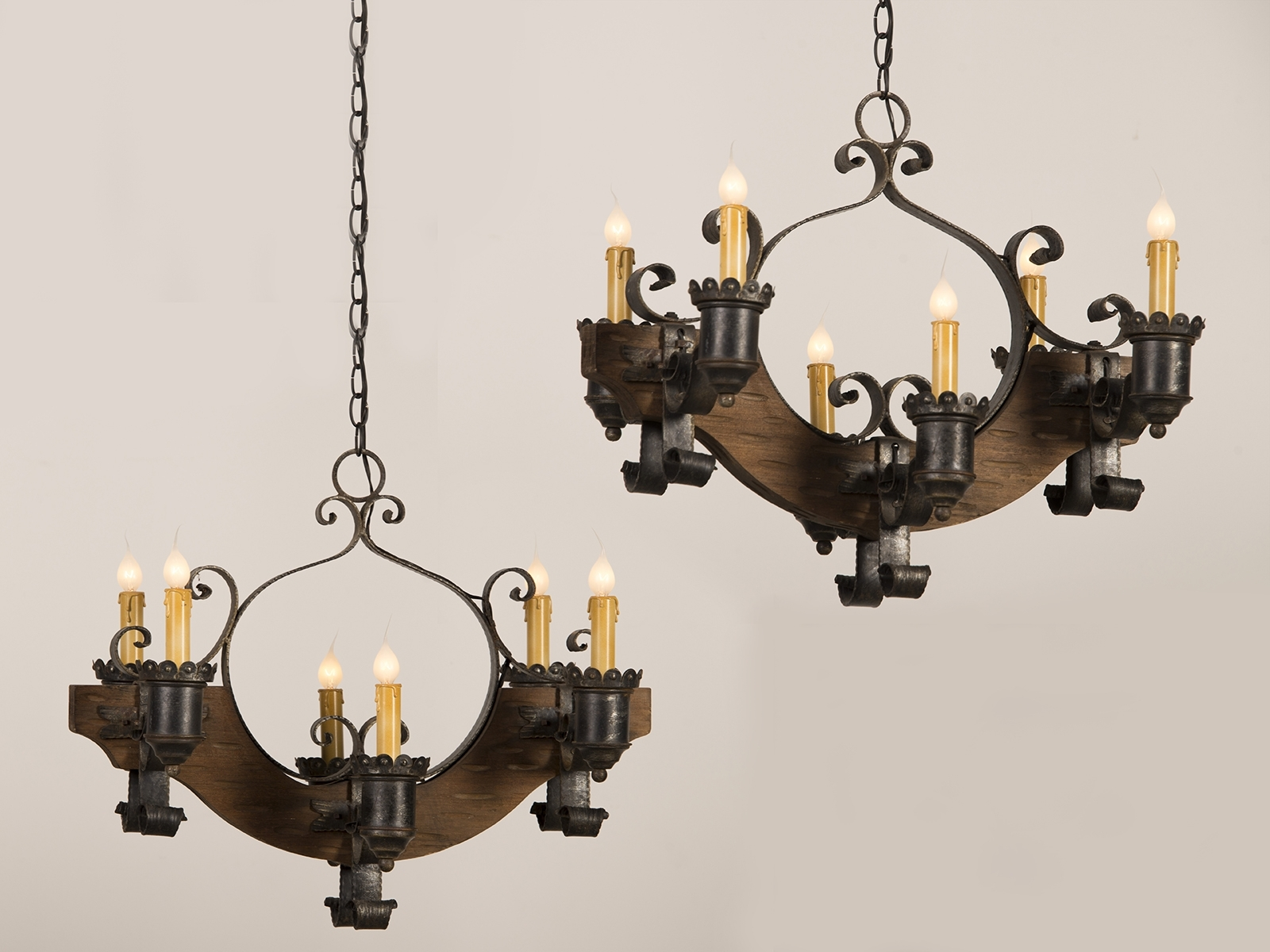 Famous Vintage Black Chandelier With Antique And Vintage Pair Old Wood Chandeliers With Black Cast Iron (View 13 of 20)